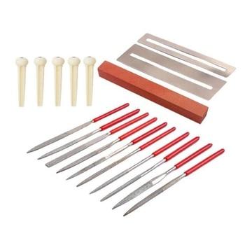 18 Pcs Guitar Repair Tool Kit Maintenance Grinding Stone Bridge Plastic String Nails Frets Nut File Set