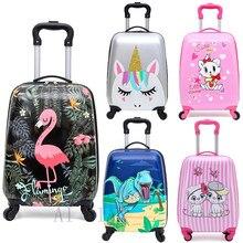 Crianças mala de viagem sobre rodas dos desenhos animados rolando bagagem bonito menino meninas carry na cabine mala de viagem saco de bagagem do trole presente da criança quente