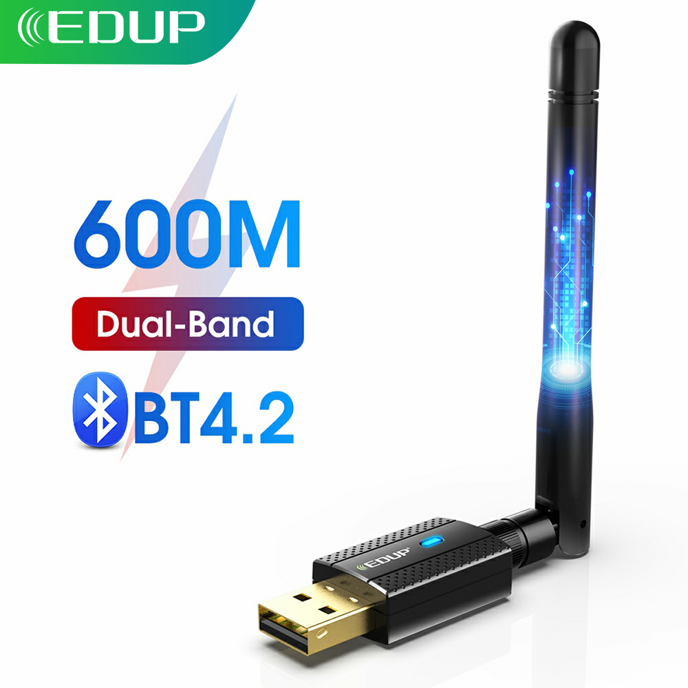 EDUP 600M USB 2.0 Dual Band Network 2.4G/5G WiFi Adapter 2 in 1 Wireless Bluetooth 4.2 Network Card Receiver 802.11b/n/g/ac(China)