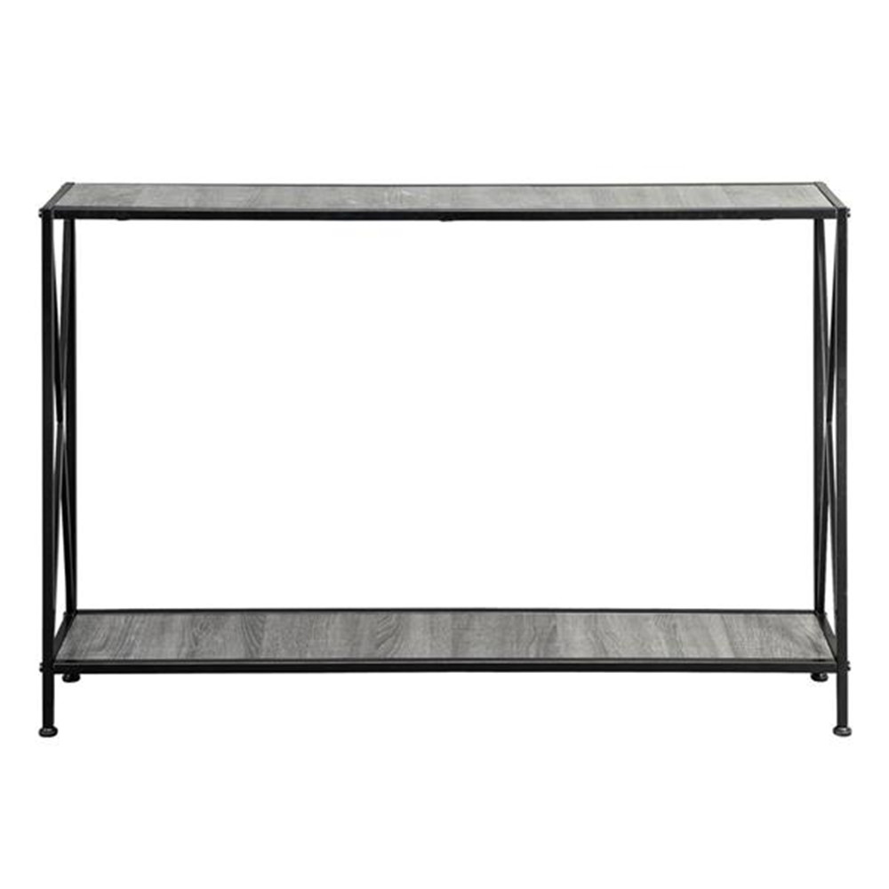 Artisasset Grey MDF Countertop Black Wrought Iron Base 2 Layers Forked Console Table Side Table Night Table 2 Layers Desk