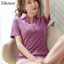 Women Summer Sexy Top Buttons Cotton T-Shirt for Women Short Sleeve Loose Polo Shirts Woman's Bottoming Shirt Fit Female Slim
