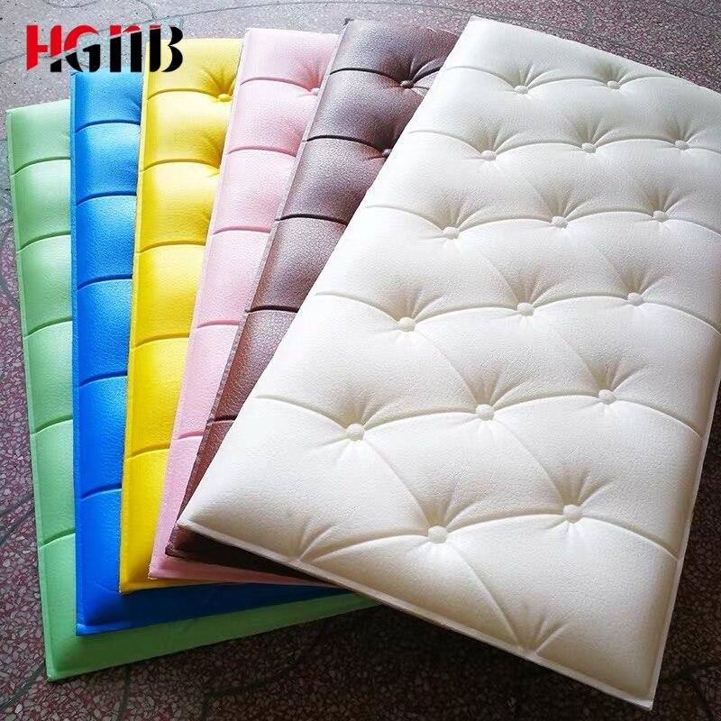 3D Faux Leather PE Foam Wall Sticker Waterproof Self Adhesive Wallpaper For Living Room Bedroom Kids Room Nursery Home Decor
