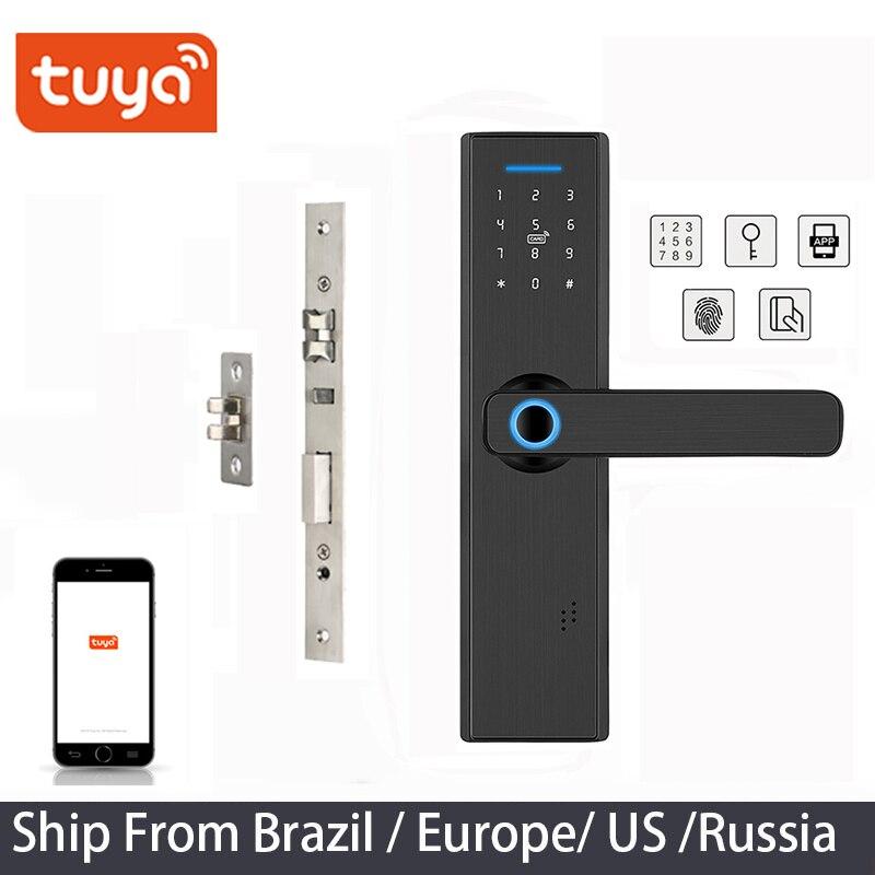 Tuya APP Fingerprint WIFI Door Lock Remotely Biometric Smart Lock ,Password Keyless Door Lock,Fechadura Digital door lock(China)