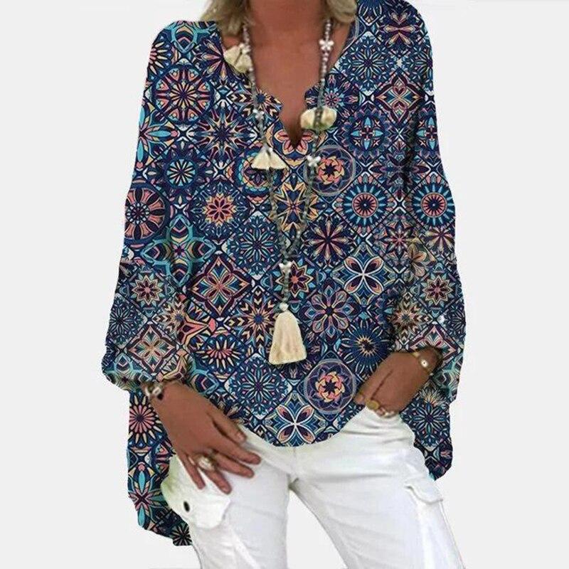 Blusa informal para mujer, camisa con estampado completo de talla grande, ropa holgada, Top para mujer 2021