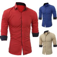 Mens Shirt Brand 2019 Male Casual Long Sleeve Shirts Hit Classic matching Color Slim Fit Man Dress
