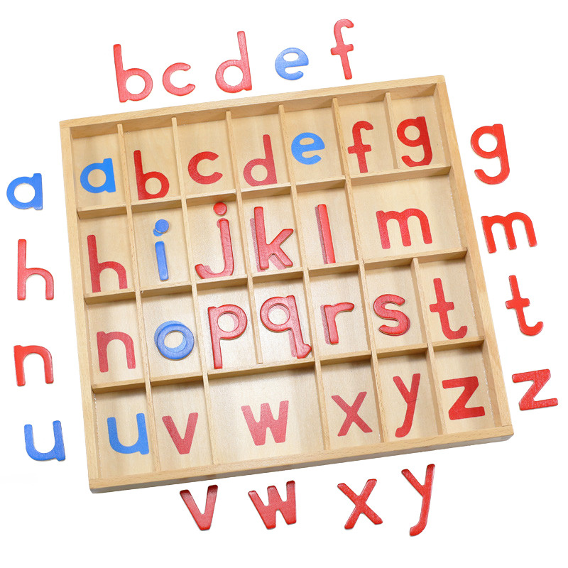 Montessori Language Toys Instructions Activity Small Letter With Wooden Box Blue Red Letter Of The Alphabet Toys For Children