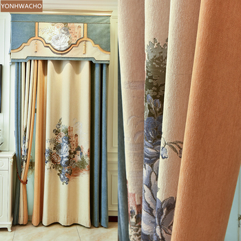 Custom curtains New jacquard single flower cashmere seamless stitching beige  cloth blackout curtain valance tulle panel C143