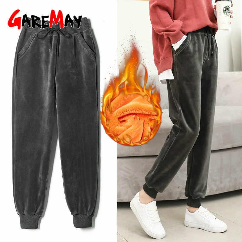 Sweatpants kış pantolonları için kadın harem kalın pantolon okul Sweatpants çizgili kadın gevşek artı boyutu sıcak kadın pantolonları
