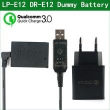 QC3.0 USB a LP E12 LPE12 ACK E12 batteria fittizia e banca di alimentazione cc cavo USB per Canon EOS M M2 M10 M50 M100 M200