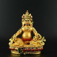 Collection Chinese Tibet Tantra Buddhism Resin Gilding Yellow Jambhala Money Wealth God Sit Statue