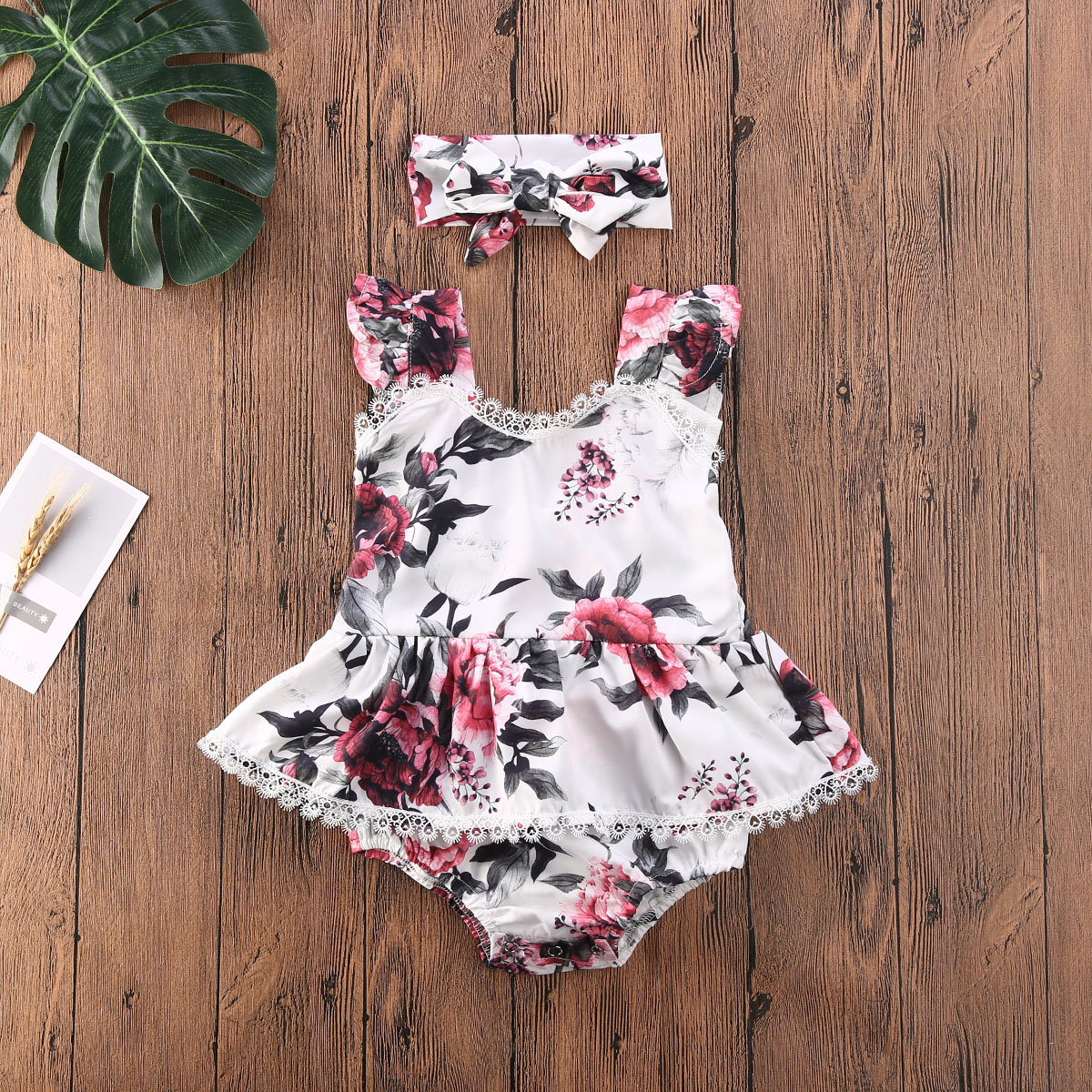 Emmababy Newborn Baby Girl Clothes Flower Print Lace Ruffle Tassel Sleeveless Romper Jumpsuit Headband 2Pcs Outfits Sunsuit