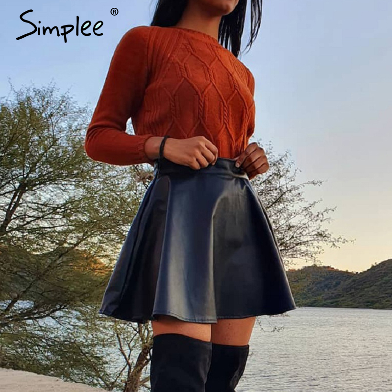 Simplee Elegant Faux Leather Women Mini Skirt Low Waist A-line Female Black Short Skirts Party Club Ladies Skirts Bottoms 2020