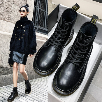 Martin Boots Locomotive Mid-tube Short Genuine Leather Rubber British Style Retro Autumn and Winter Female - discount item  50% OFF Women's Shoes