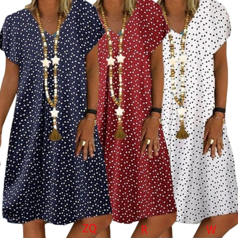 Женское летнее платье-миди с коротким рукавом и V-образным вырезом