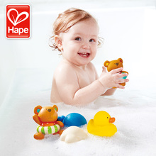 купить Hape bath toys water toy Teddy and his friends rubber duck toys for kids дешево