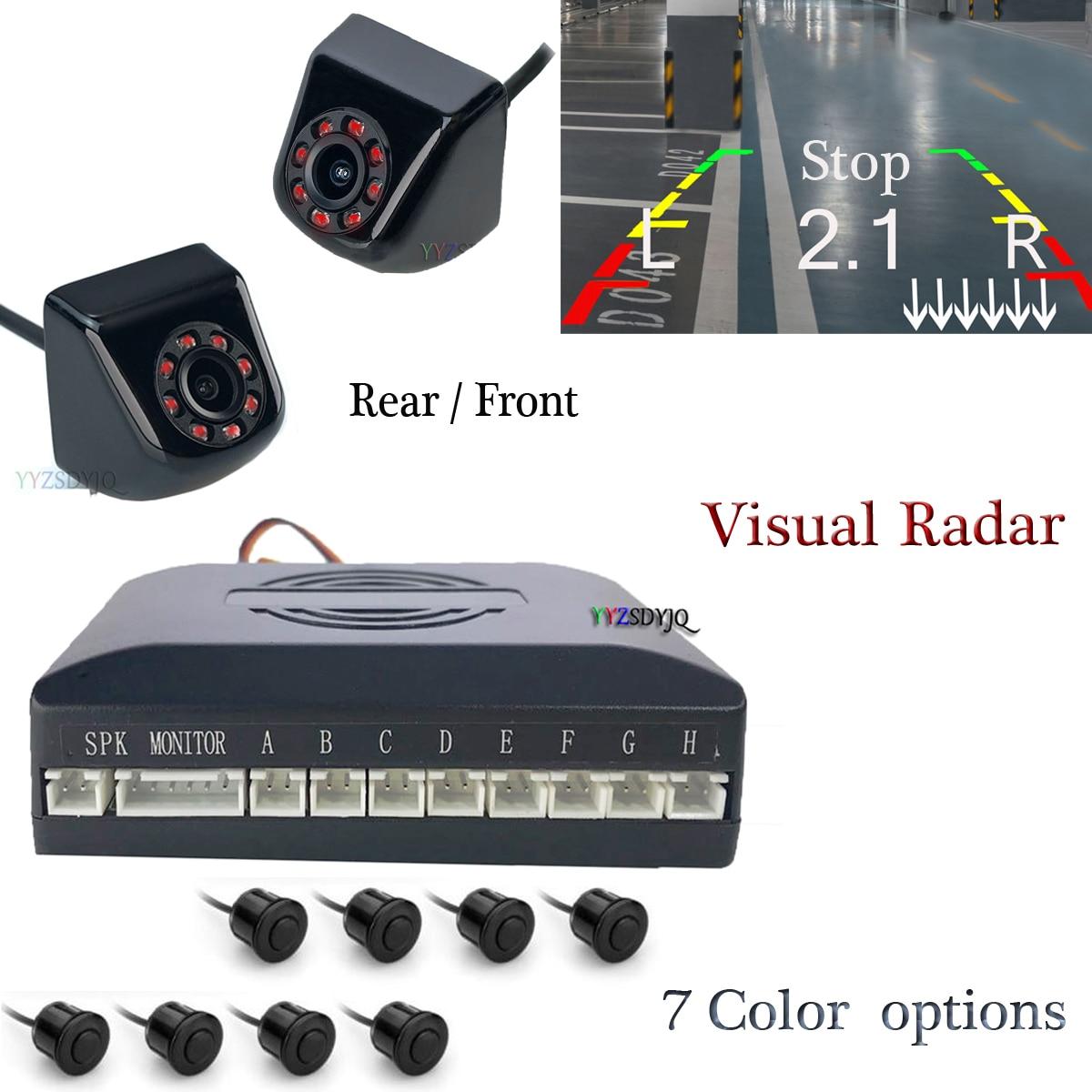 Двойной процессор Автомобиля Обратного видео парковки 8 датчик Радар парктроник с фронтальной/задней камерой заднего вида можно подключит