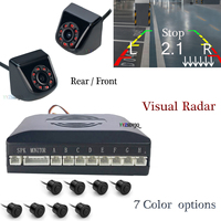 Double CPU Car Reverse Video Parking 8 Sensor Radar Parktronic With Front/Rear View Backup Camera Can Connect Car DVD Monitor