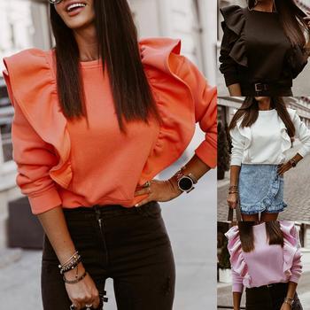 Autumn Winter Women O Neck Ruffle Blouse Shirt Long SleeveThick Pullover Top Women's Clothing blusas mujer de moda 2020 недорого