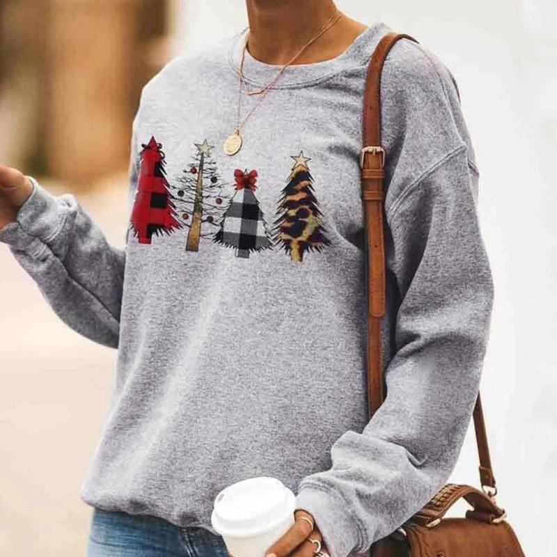 Women Sweatshirt Xmas Christmas Tree Printed Round Neck Pullover Female Long Sleeve Jumper Winter Loose Cotton Tops For Ladies