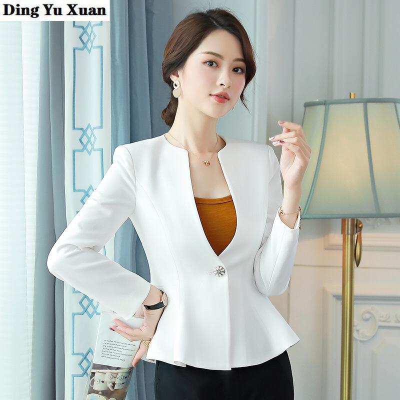 Female Black White Business Pant Suits for Women Formal Wear Trouser Suit Womens Short Jacket with Pants Office 2 Pieces Set