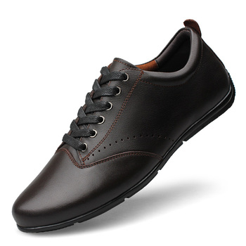 Spring Autumn New Hot Fashion Men Lace-up Leather Casual Shoes Trend Cool Loafers Flats Size37-47 Black %