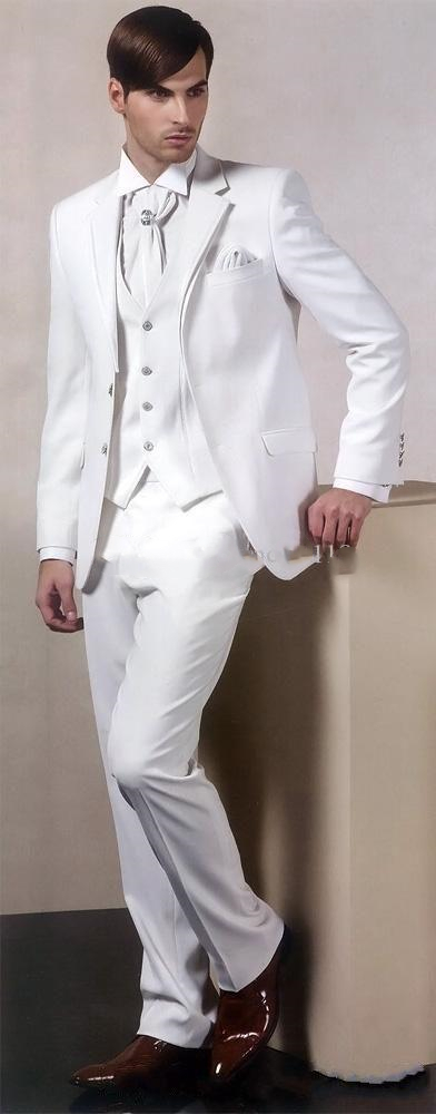 Three Piece White Evening Party Men Suits Notch Lapel Slim Fit Custom Made Wedding Tuxedos (Jacket + Pants + Vest+Tie)