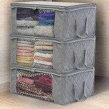 Caixa de armazenamento de roupas dobrável não tecido organizador de roupas cesta com alças guarda-roupa saco de armazenamento com zíper