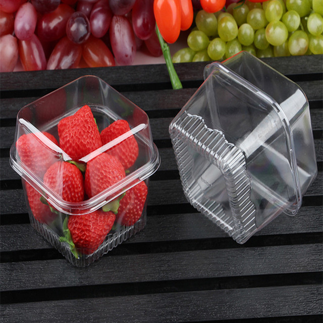 50pcs High quality fruit salad cake packaging container disposable transparent pet meal platter square plastic box with lid