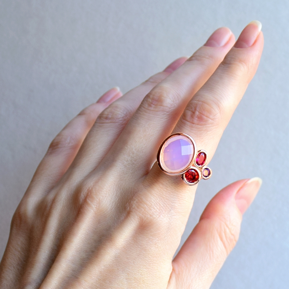 WA11703 DreamCarnival1989 Dazzling Pink Tone Zirconia Rings for Women Top Quality Radiant Cut CZ Chic Fashion Wedding Jewelry (8)
