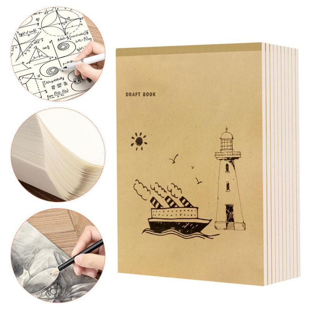 New A4 Notebook Blank Inner Page Graffiti Draft Sketchbook Thickened Beige Paper For Sketching Note Painting 40 Pages in Letter Pad Paper from Office School Supplies