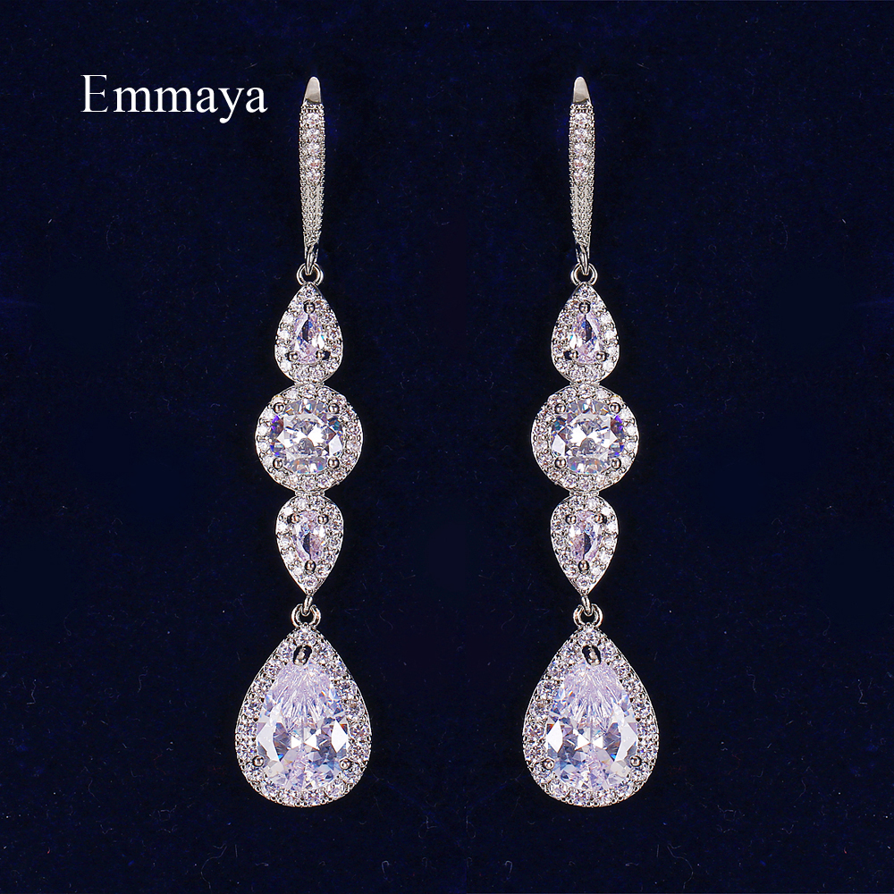 Emmaya New Arrival Waterdrop And Round Shape Cubic Zircon Connect Delicate Long Earring For Female Three Color Gorgeous Gift