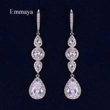 Emmaya – boucle d'oreille ronde en Zircon cubique pour femmes, bijou Long et délicat, trois couleurs, magnifique cadeau