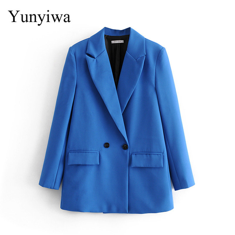 2020 Women Fashion Solid Color Casual Business Blazer Office Lady Double Breasted Pocket Suits Chic Leisure Outwear Coat
