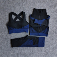 3PcsSetBlue - Women Seamless Fitness Yoga Suit Color-blocked Sportwear