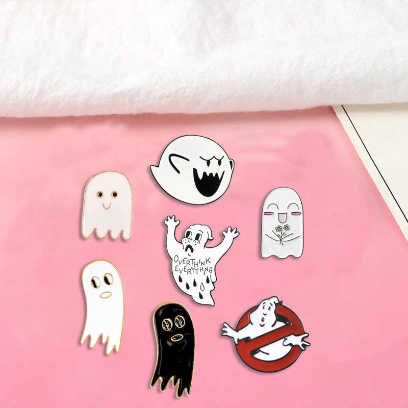 Hantu Lucu Enamel Pin Kustom Ghostbusters Bros Kartun Hitam Putih Momok Kerah Pin Lencana Kemeja Tas Perhiasan Hadiah untuk Anak-anak