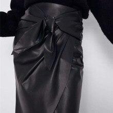 Новая юбка из искусственной кожи с высокой талией на осень/зиму