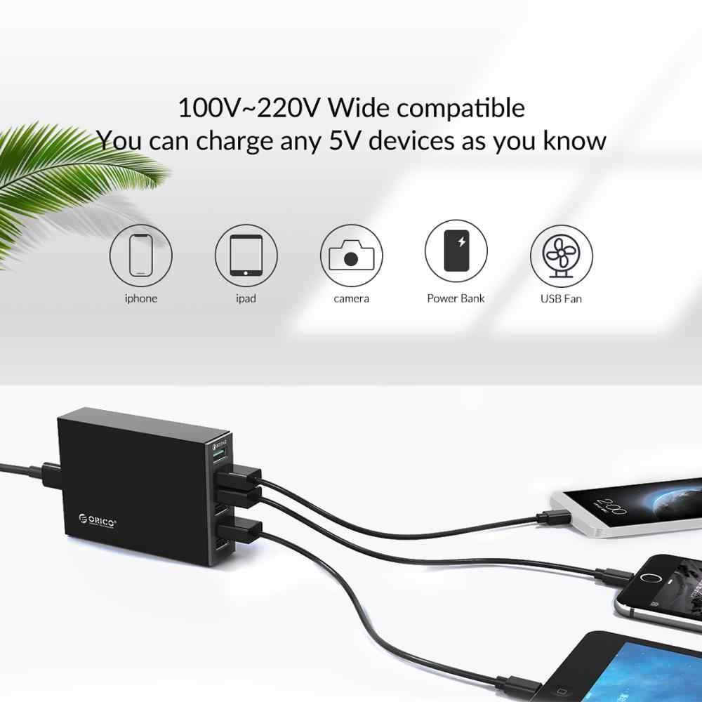 Orico 6 Port Smart Desktop Charger 4 * 2.4A Port dan 2 * QC2.0 Cepat USB Charger Ponsel Charger untuk Samsung Huawei iPhone