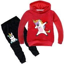 Bambini Set Abbigliamento Cartoon unicorn Outffits Vestiti Vestiti Del Bambino Delle Ragazze Dei Ragazzi Con Cappuccio manicotto pieno T Shirt Pantaloni di Sport Set Abbigliamento