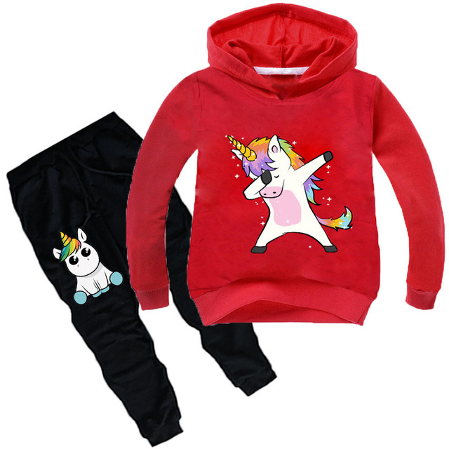Kids Clothing Sets Cartoon unicorn Outffits  Clothes Suits Baby Boys Girls Hoodie full sleeve T shirt Pants Sport Clothing Sets