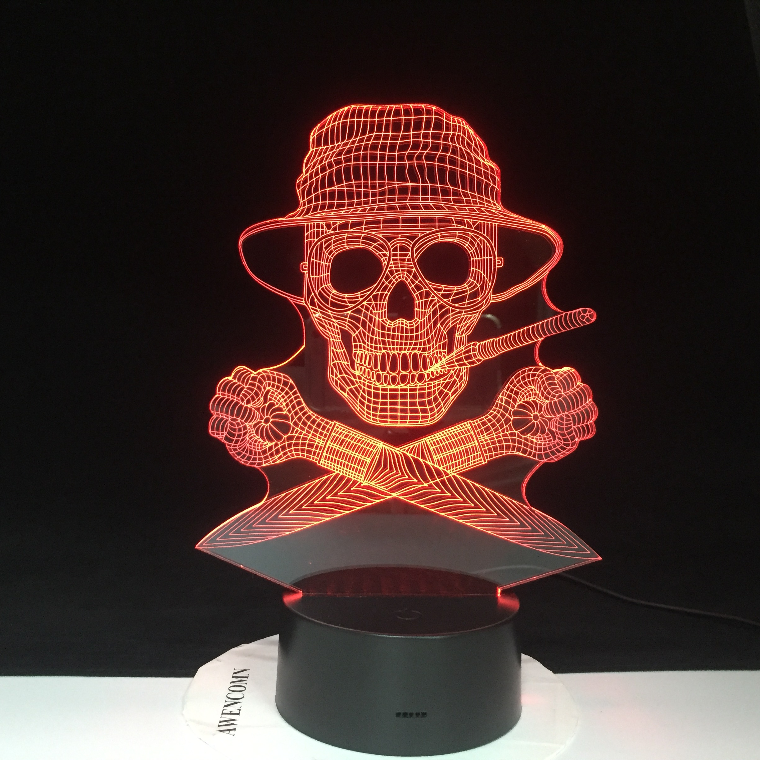 The Skeleton Pirate 3D Lamp LED USB Creative Skull 3d Night Light 7 Color Change Acrylic Remote Touch Switch Desk Lamp 3390