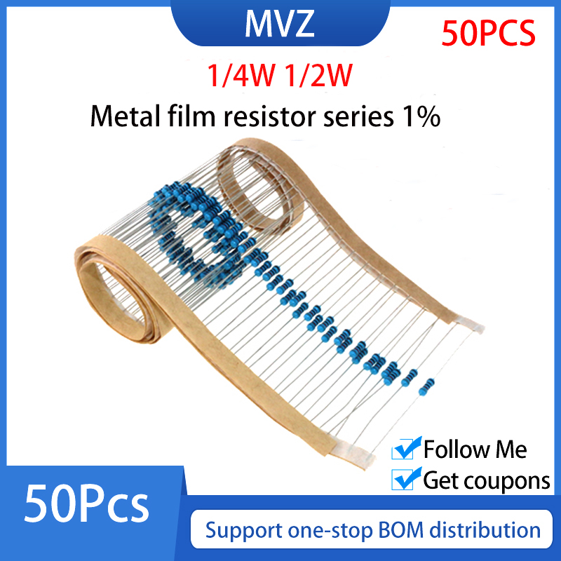 Металлический пленочный резистор серии 1% 1/2 Вт 270K 300 330 K 360 390 430 KR 470 510 560 620 750 Ом 820 910 1,2 кОм 1 м 1,5 м 1,8 м