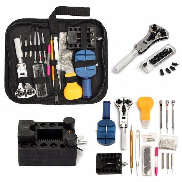 144 Uds herramientas para relojes, abridor de reloj, removedor de barra de resorte, reparación, Pry destornillador, Kit de herramientas de reparación de relojes, herramientas de relojería