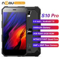 IP68 NOMU S10 PRO 4G Smartphone 5.0 ''Android 7.0 MTK6737VWT Quad Core 1.5GHz 3GB 32GB 8.0MP arrière 5000mAh téléphones portables étanches