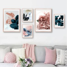 Modern Botanical Poster Black Blue Pink Grey Tropical Leaves Canvas Art Prints Wall Picture For Living Room Tropical Wall Decor(China)
