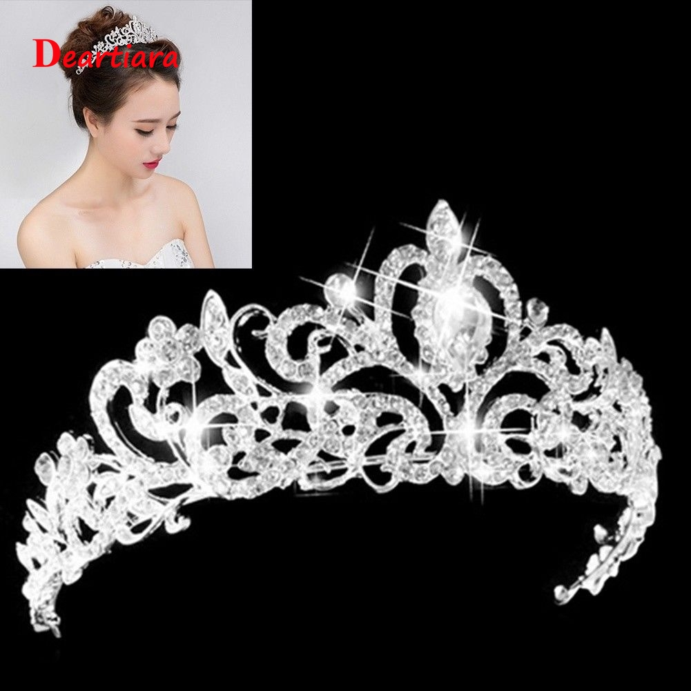 Women Wedding Bridal Tiaras Princess Austrian Crystal Prom Hair Crown Rhinestone Fashion Headband Hair Accessories Headpiece(China)