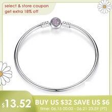 цена на BAMOER Authentic 100% 925 Sterling Silver Snake Chain Heart Bangle & Bracelet Luxury Jewelry PAS904