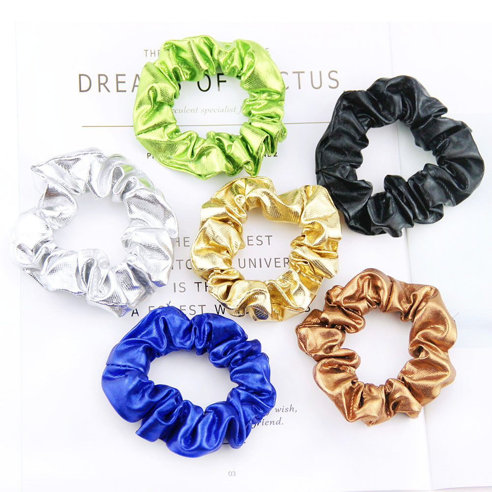 Women Gold Black Pu Faux Leather Elastic Hair Ties Girls Hairband Rope Ponytail Holder Scrunchie Headbands Accessories