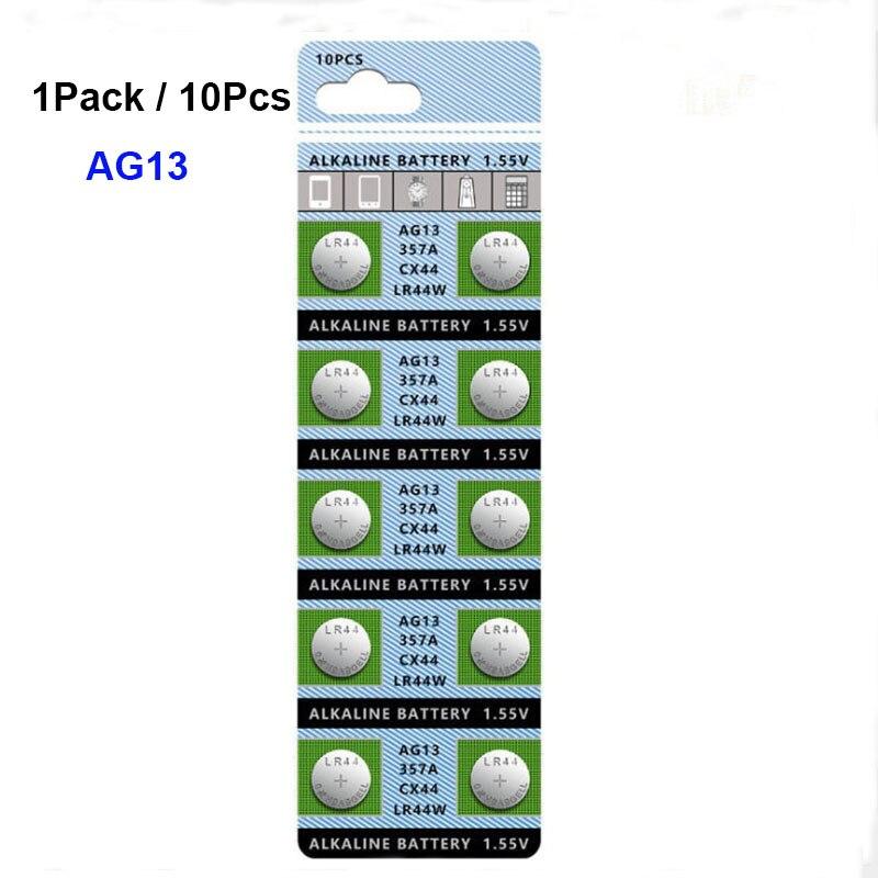 Lot de piles boutons alcalines AG13 357 V, 10 pièces/lot, pour montre, télécommande électronique, LR44 1.5 357A S76E G13