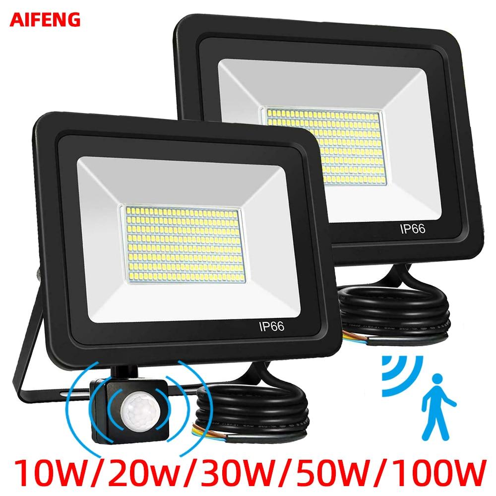 LED Floodlight 220V PIR Motion Sensor  Spotlight Outdoor Wall Light Induction Waterproof Corridor Garden Lamp 10W 20W 30W 50W
