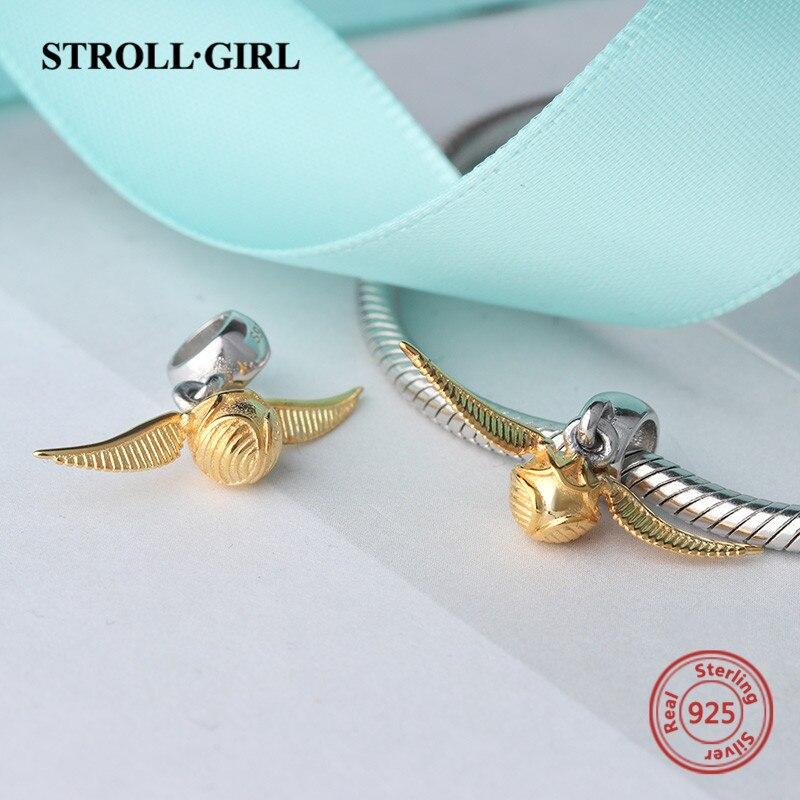 StrollGirl 925 charmes d'argent classique Vif D'or perles fit pandora  original pendentif bracelet bijoux faisant accessoire hommes cadeau